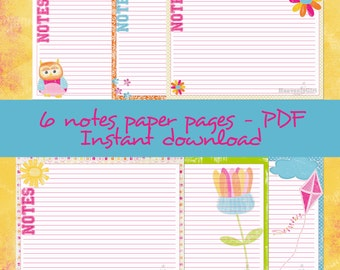 """6 Notes Paper Pages -PDF - """"Happy"""""""