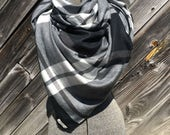 black and gray large scale plaid blanket scarf with leather detail