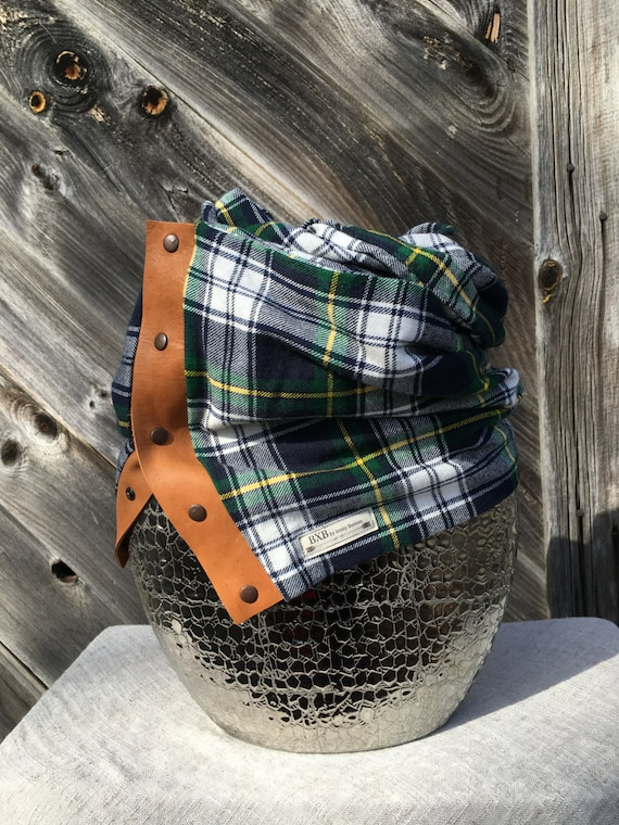 Navy green and yellow Plaid Cowl Snap Scarf with leather detail