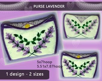 Purse Lavender No.265 - wallet design - 5x7hoop,5.51x7.87hoop - Machine embroidery pattern./INSTANT DOWNLOAD