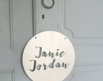 Personalised Wooden Wall Plaque with Name Round