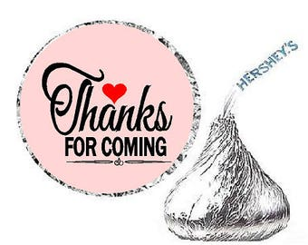 Thanks for Coming Soft Pink Heart Party Favor Hershey Kisses Candy Stickers / Labels -216ct