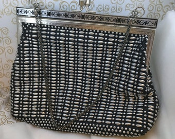 Vintage Golden Name black and silver beaded bag