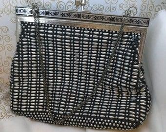 Vintage Golden Name black and silver beaded bag