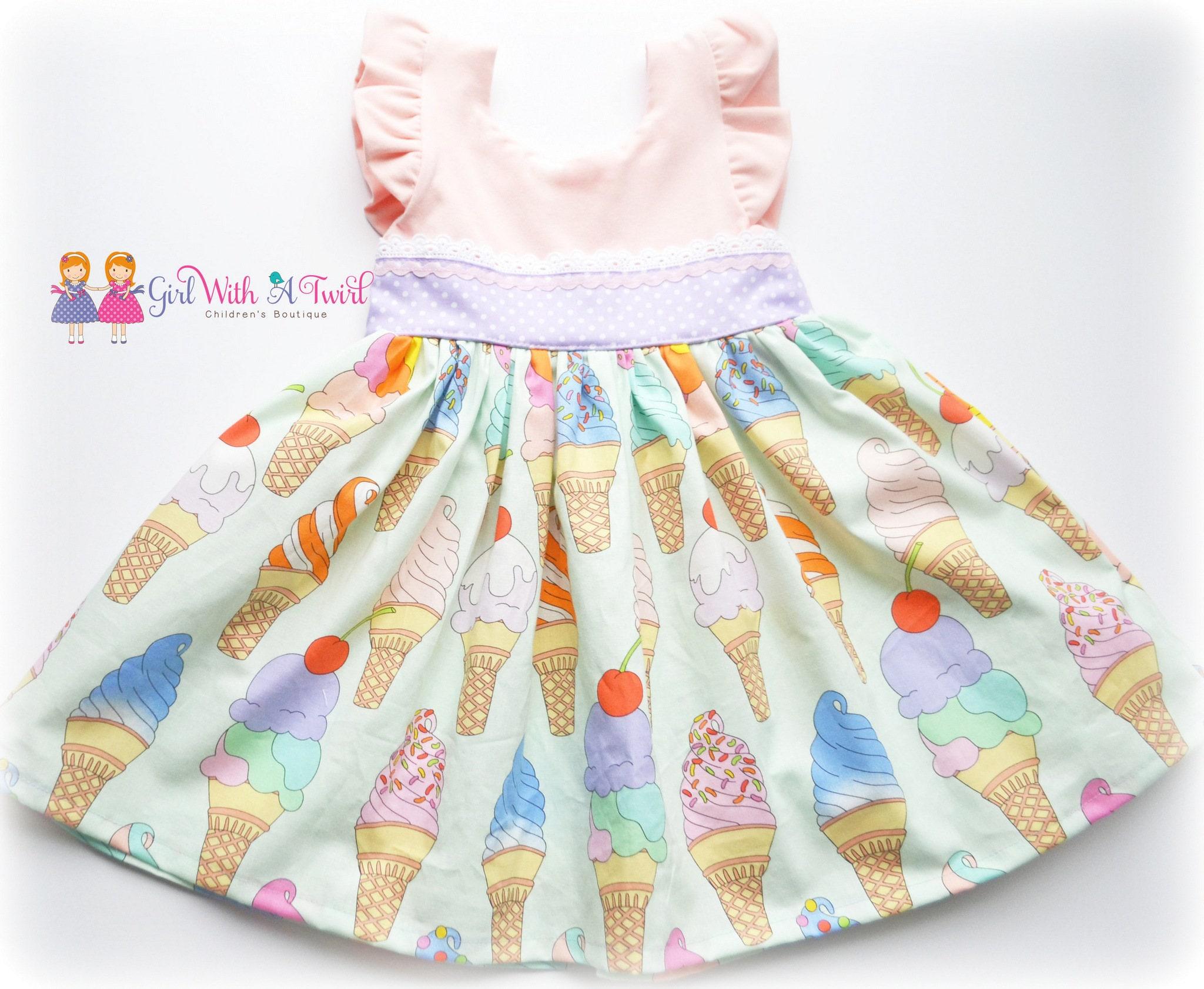 Ice Cream Dress Toddler Dress Twirl Dress Ice Cream Party Baby