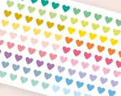 """108 tiny heart stickers, 0.3"""" stickers, transparent clear stickers, planner stickers, eclp filofax happy planner color coding"""