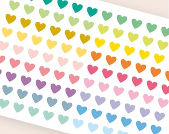 "108 tiny heart stickers, 0.3"" stickers, transparent clear stickers, planner stickers, eclp filofax happy planner color coding"
