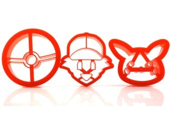 3-Pack Pokemon Cookie Cutters | Pokeball, Ash, Pikachu | Special Edition | Use for Fondant, Dough, Play Doh, & More | FREE SHIPPING