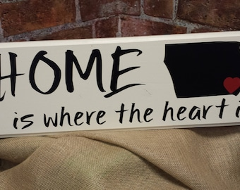 Personalized Sign, Home is where the heart is, State, decal,