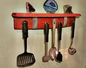 Utensil hanger with shelf