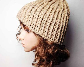 Camel LOU Crocheted Hat - Hand Made Crocheted Hat - Beige Camel Beanie Hat - Woman Hat - Man Hat - Ready To Ship