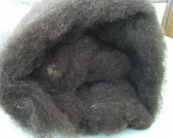 Carded wool black of Velay