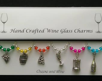 Cheese and Wine Set of Wine Glass Charms