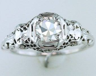 Vintage Antique .70ct Diamond 18K White Gold Art Deco Filigree Engagement Ring