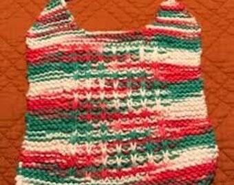 Hand Knit Baby Bib-Christmas Colors
