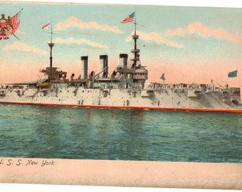 Vintage Postcard, U.S.S. New York Battleship, ca 1906