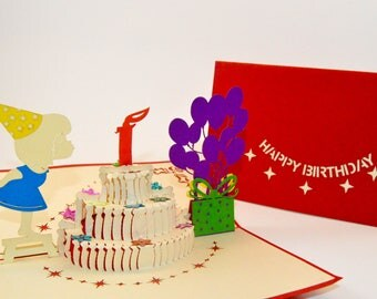 Birthday Card Girl - Happy Birthday Card - Pop Up Card - Greeting Card - Birthday Card - Card for a Birthday - Greetings