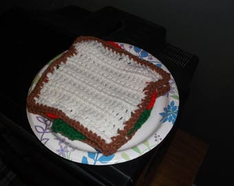 Crochet Play Food Tomato and Lettuce Sandwich