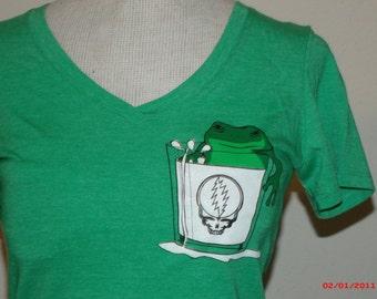 "Keller Williams Womens V neck T shirt ""Frog in a glass of Milk"""