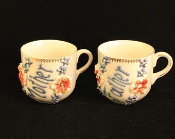 Vintage Fancy Mother and Father Mugs Cups From Germany Iridescent Blue Raised Flowers and Letters Porcelain Gift Parents