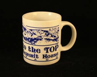 Pikes Peak Mug Vintage  Summit House Colorado Coffee Tea Cup White and Blue