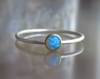 sterling silver blue opal ring,, blue opal ring