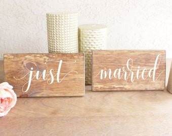 Just Married Chair Signs - Just Married Photo Prop Signs - Just Married Hanging Chair Signs - Chair Signs for Wedding - Wedding Chair Signs
