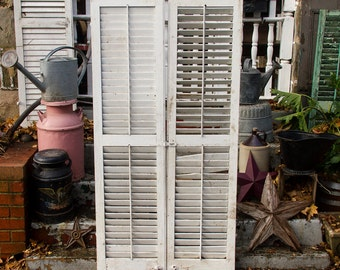 antique white shutter door single vintage shutter old