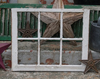 Antique Six Pane Window Salvaged from Old Barn, Rustic Window Frame, Architectural Salvage Antiques, Shabby Chic, Large Window Frame Frame