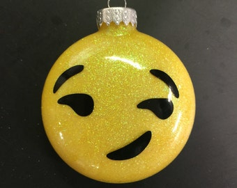 Emoji glitter ornament