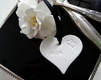 Wedding Name Tag Clay Heart