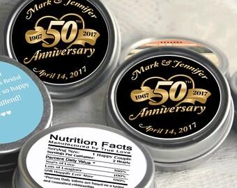 50th Anniversary Mint Tin Favors - 50th Anniversary  Favors - 50th Anniversary Ideas - 50th Anniversary Mints - 50 Anniversary Decor