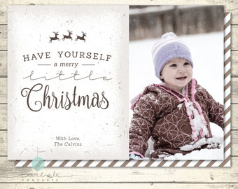 Vintage Christmas Card with Photo | Rustic Holiday Card | Front & Back Card  | Have Yourself A Merry Little Christmas | Digital Printable
