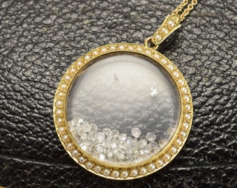 Victorian Diamond and pearl Shake it Locket in 15ct Gold