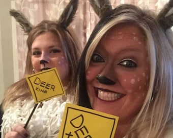 Set of 2! Handmade Faux fur Deer ears, two sets of ears and signs!!