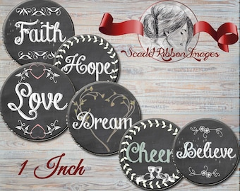 CHALKBOARD or Blackboard Sayings Bottle Cap Images 1 inch circles - cupcake toppers- gift tags- pendant, bow, charm,necklace and craft
