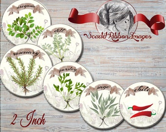 HERB Spice Plant Digital Images 2INCH circles- labels- cupcake toppers -bottle cap images, buttons, tags, scrapbooking, cupcake toppers