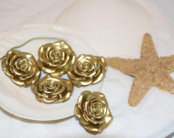 Gold Flower Bead Pendant Flat Back 5