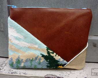 Handmade Mountain cover. Association of leather and vintage embroidery. Unique piece.