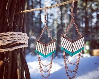 Wooden Earrings - Chevron Teal, White