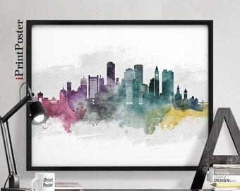 Boston poster, Boston, Boston print, Boston skyline, Boston watercolour, Massachusetts, wall art, art print, home decor, iPrintPoster