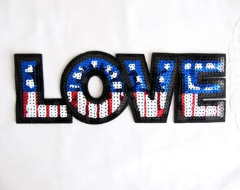 American LOVE Patch,Iron On Flag Patch,LOVE Letter Applique,Heat Transfer Patch,Sequin Love Letter,Sequim Flag,Sequin Letter Patch