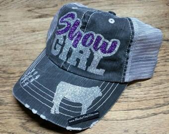 Livestock Show Hat. Livestock Show Girl Hat. Blingy Show Girl Hat. Glitter Livestock Hat. Trucker Hat. Baseball Hat.
