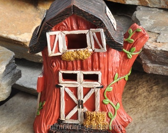 Country Red Barn with Light for Miniature Garden, Fairy Garden