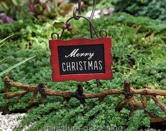 Christmas Sign with Hook for Miniature Garden, Fairy Garden