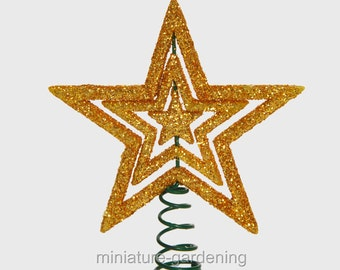 Gold Star Tree Topper for Miniature Garden, Fairy Garden