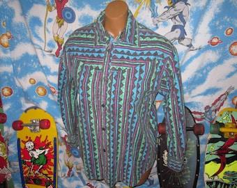 INSANE 1980s vintage button up shirt - MUST SEE - sz xl - punk indie retro skater surfer