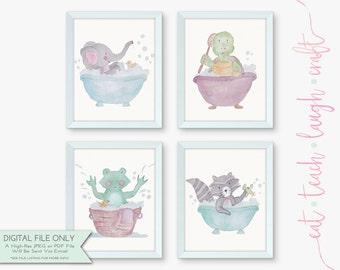 40% OFF SALE - Set of 4 Bathroom Printables - Kids Bathroom Art - Animals Bathroom Decor - Watercolor {Instant Digital Download - 8x10}