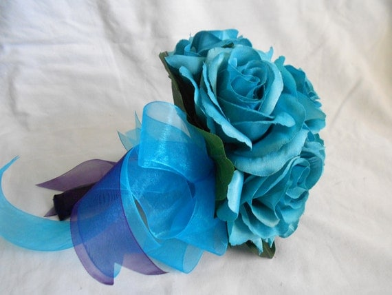 Bride maids bouquet set of 4 with 4 grooms boutonniers includes turquoise all roses