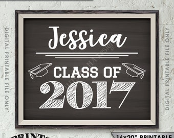 """Class of Sign, Custom Year of Graduation Sign, High School Graduation Party, College Grad Party, 8x10/16x20"""" Chalkboard Style Printable Sign"""